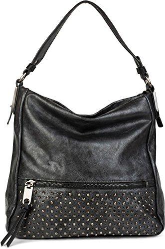 styleBREAKER borsa hobo borchiata, comparto frontale con cerniera, borsa shopping, borsa da scuola, borsa, donne 02012179, colore:Antico-Grigio scuro Antico-Grigio scuro