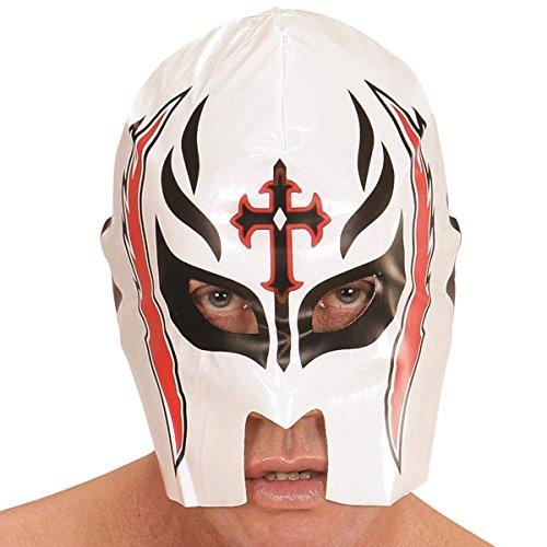 dmann PVC Wrestler bedruckt über den Kopf Maske mexikanischen Sport Fancy Kleid (Rot Und Gold Fancy Maske)