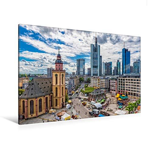 Premium Textil-Leinwand 120 cm x 80 cm quer Frankfurt Hauptwache und Katharinenkirche