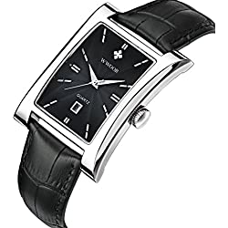 Frauen echtes Leder quadratisch Luxus Kleid Uhren Damen Rose Gold Sport Uhren für Femme Silber