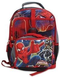 Marvel Spider-Man - Kids 3-Piece Large Full-size Backpack Includes W2-Pocket Folder & Lunch Box