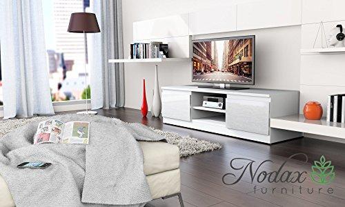 Blanc mat/Blanc brillant moderne Meuble TV Support 120 cm Unité – Code produit '35'