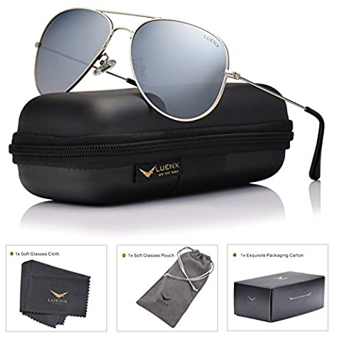 LUENX Mens Aviator Sunglasses Polarized Silver Mirrored Lens Metal Frame with case UV 400 Protection Driving 60mm