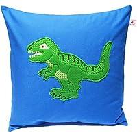 """TryPinky® Handmade Kissenbezug Blau 40 X 40 cm """"Tyrannosaurus Rex """" Applikation Dino Grün Namensstick Kinderkissen Namenskissen Kissenhülle 100 % Baumwolle BW für Jungen"""