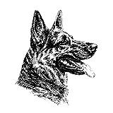 Schecker-Autoaufkleber Hundeaufkleber ideal für helle Autos Dt. Schäferhund, Profil