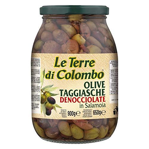 Le Terre di Colombo - Entsteinte Taggiasca-Oliven in Salzlake, 900 g