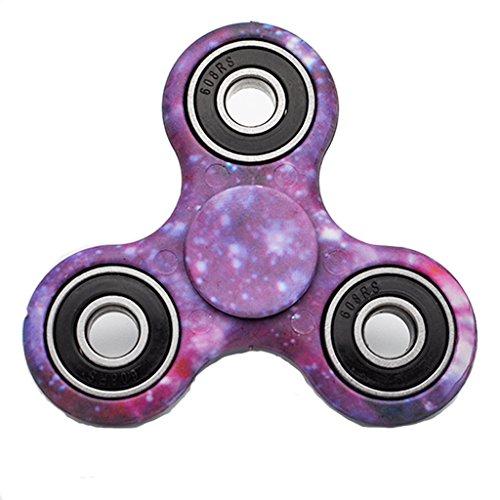 EDC Hand Fidget Tri-Spinner Finger Spinner Focus Reduce Stress Tool (Purple Starry Sky) - 3