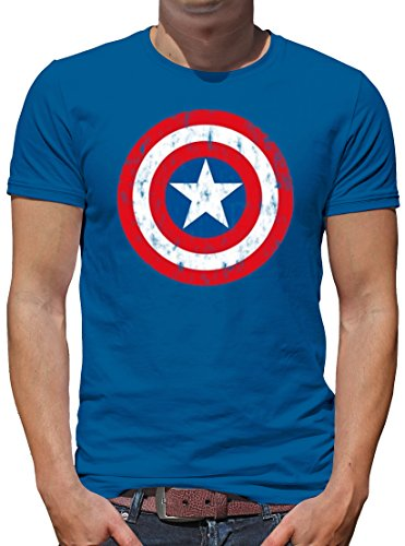 TLM Marvel Captain America Shield T-Shirt Herren XXXL Azure (Kostüme Retro Captain America)