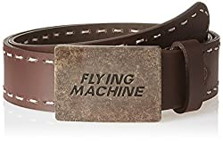 Flying Machine Mens Leather Belt (8907378882226_FMAL0455_Brown_M)