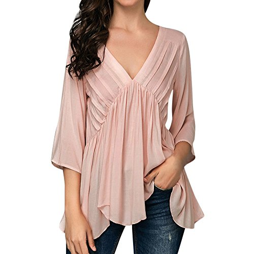 Milktea Damen Tops Bluse Mode Sexy Frauen Solide Tops Bluse Leger 1/2 Sleeved Plissee Rüschen Asymmetrische Saum V-Neck Top Bluse