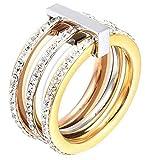 AMDXD Damen-Ringe 18K Vergoldet 3 Reihen Zirkonia Gold Ringe Gr.54 (17.2)