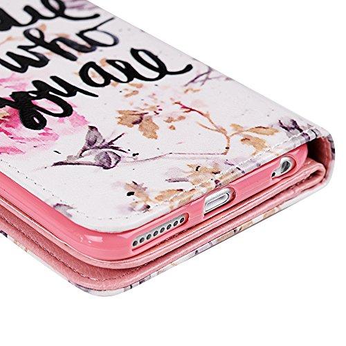 Mavis's Diary Étui iPhone 6/iPhone 6S Coque en Cuir Plus de Fentes pour Carde Papillon Fleur Dessin Imprimé en Relief Protection Portable Housse Portefeuille Étui à Rabat avec Function Support Flip Co motif 6