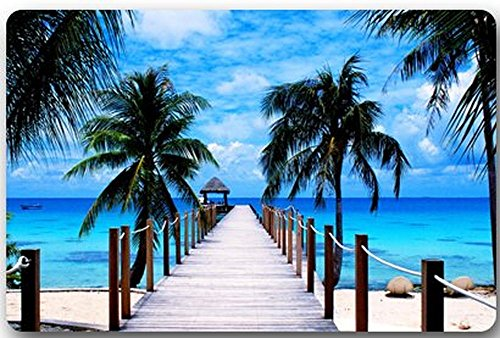 Homelover (TM Sandy Paradis Tropical Plage avec Palmiers et la mer océan Thème Rectangle réception antidérapant Paillasson Tapis de Sol Funny Welcome Tapis d'entrée 59,9 x 39,9 cm