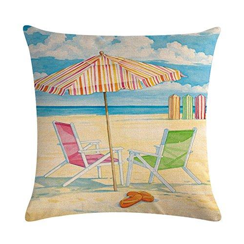 Summer Vacation Camping Thema Überwurf Kissenbezug Strand Stuhl Quadratisch 45,7x 45,7cm Home Decor 18'' x 18'' Beach Chair 06 ()