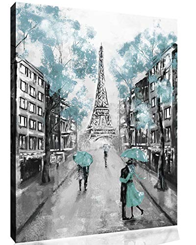 "Paris Oil Painting Eiffel Tower Duck Egg Blue Umbrella Canvas Wall Art Picture Print (25"" x 40"" (63cm x 101cm))"