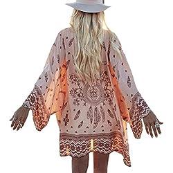 RETUROM Las Mujeres del otoño de Boho Impresa Floja de la Gasa del mantón Kimono Cardigan Tops Cubrir la Blusa (L)