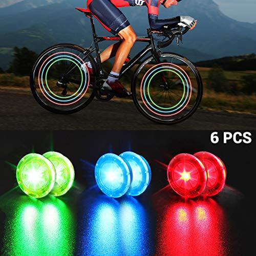 Faviye Fahrradfelgenlichter 6pcs Fahrrad Rad Lichter Speichenlichter IP67 wasserdichte für sicheres Radfahren