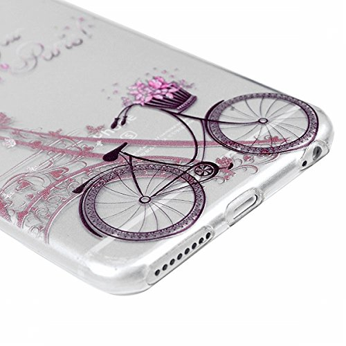 SMART LEGEND iPhone 6, iPhone 6S Weiche Silikon Hülle Bumper Schutzhülle Transparent Hülle mit Muster Handyhülle Crystal Schutzhülle Kirstall Clear Etui Ultra Slim Durchsichtig Weich TPU Handytasche S Fahrrad