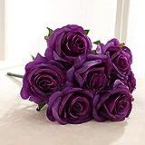 YCJCG 9 Têtes, Gros Bouquet De Roses Artificielle Soie Rose Bouquet De Fleurs De Mariage Partie Home Decor 3