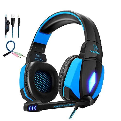Cascos Gaming, YINSAN Auriculares Premium Stereo con Micrófono, Luz LED y Control...