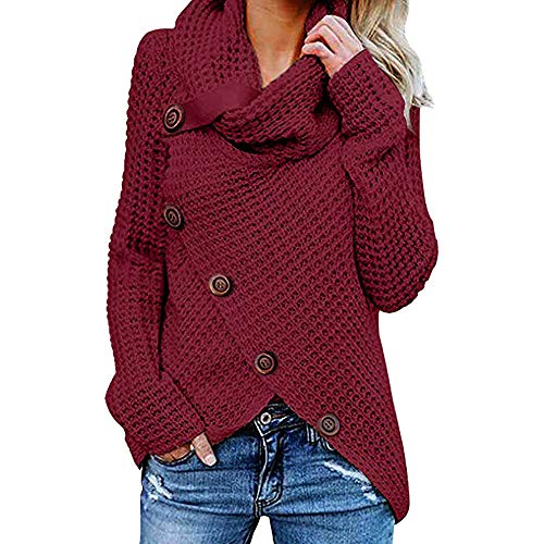 Yvelands Damen Pullover Rollkragenpullover Solid Sweater Warm Cable Gestrickte Lose Knopf Wrap Asymmetrische Langarm Sweatshirt Pullover Tops Bluse Shirt(EU-36/L,Weinrot)