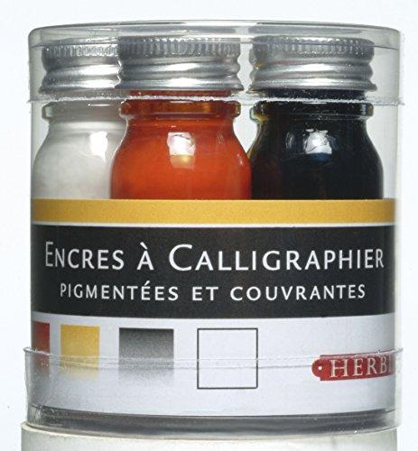 Herbin 12003T - Set de 5 Flacons 10ml d'Encre à Calligraphier Bleu/Rouge/Jaune/Noir/Blanc