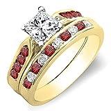 Damen Ring / Ehering 14 Karat Gelbgold Diamant & Echte Rubin Verlobungsring Ehering Set Ring