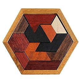 Isuper Puzzle di Legno Puzzle di esagono per Bambini Giocattoli di Legno Tangram Jigsaw Board Giocattoli educativi Geometrici di Legno