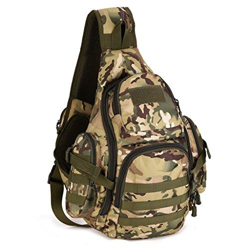 cinmaul singola spalla Crossbody petto Borsa caccia campeggio trekking Heavy Duty Corriere Militare Tattico Sport Sopravvivenza Pack, Uomo, Jungle Camouflage CP Camouflage