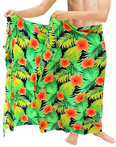 LA LEELA Schwimmen Pareo Sarong Männer Badeanzug Aloha Beach Wickeln Coverups Badeanzug Orange