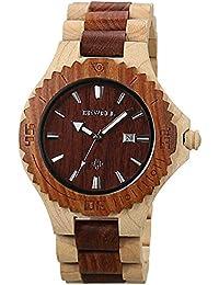 BEWELL reloj de pulsera de madera, reloj de pulsera análogo de cuarzo con la exhibición de la fecha, pulsera de madera de la cebra Estilo retro simple