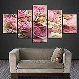 mmwin Imágenes Modernas HD Imprimir 5 Piezas Hermosa Rosa Rosa Blanca Flor Flor Naturaleza Lienzo Modular Salón Arte de la Pared