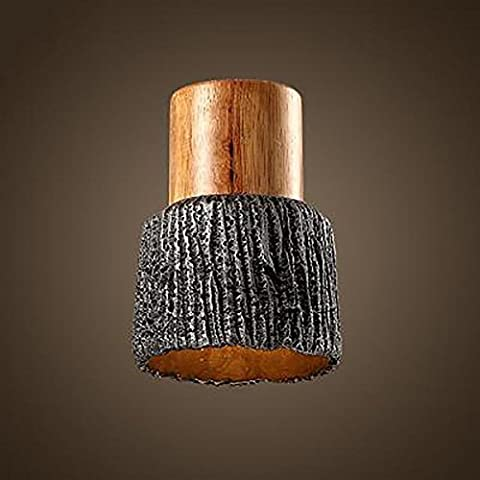 Holz Hängeleuchte Pendelleuchte Zement Lampshade E27 Halter raue Oberfläche Firm hängend A