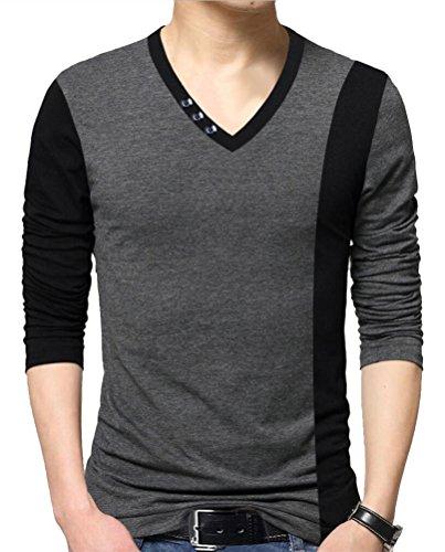SMITHROAD Herren leicht Langarm Shirt Sweatshirt Tops Pachwork Colorblock XS bis 3XL Grau