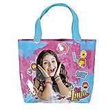PERLETTI Shopper bag Disney Soy Luna - Borsetta Tote a mano Bambina e Ragazza - Rosa e Azzurro - 25x33x8 cm