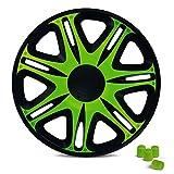 Radkappen 14 Zoll NASCAR (Schwarz/Grün) passend für fast alle Fahrzeuge inkl. 4 Ventilkappen Grün!