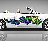 2x Seitendekor japanischer Drache 3D Autoaufkleber grün Digitaldruck Seite Auto Tuning bunt Aufkleber Rennstreifen Seitenstreifen Dekor Racing Autofolie Car Wrapping Motorrad LKW Decals Sticker Tribal Seitentribal CW009 Airbrush , Größe LxB:ca. 80x20cm