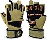 Weightlifting Gloves for Crossfit Workout Training - Fitness Gym Gloves for Men or Women - Best Bodybuilding Gloves for Heavy Weight Lifting Exercise Integrated W. Full Wrist Support Wraps - Enhance Your Grip and Eliminate Blisters & Calluses - 1 Year Replacement Warranty (Soldier, Large)