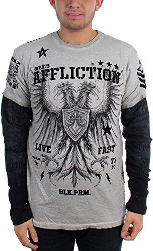 Affliction - - Herren Tragen Sie T-Shirt White Oil Stain