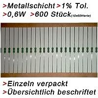 600 Metallschicht Widerstände 0,6W 1% Sortiment Set Widerstand E12 LED 0207