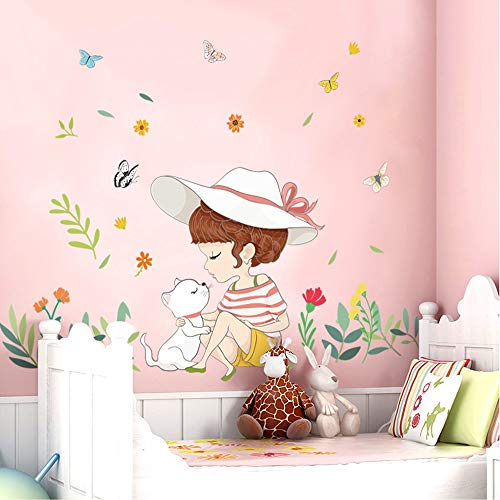 RALCAN Nette Mädchen Wandaufkleber Für Wohnzimmer Dekoration DIY Abnehmbare Kinderzimmer Hintergrund Wandtattoo Wohnkultur