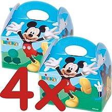 4 cajas de regalo de cartón * Mickey Mouse Club House * De Disney // CONO // Para niños con diseño de fiesta de cumpleaños infantil de jugadores de bolsas de regalo y bolsas de fiesta de cajas de Mickey Mouse