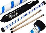 TWIST Devilstick (Weiß/Blau) inkl. Holz Handstäbe mit 2 mm Silikonmantel + Reisetasche! Flames N Games Devil stick Set Für Kinder und Erwachsene.