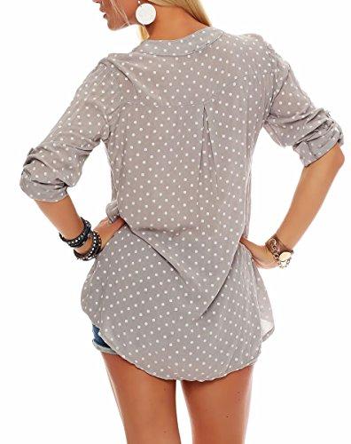 malito Damen Bluse mit Punkten | Tunika mit ¾ Armen | Blusenshirt auch langarm tragbar | Elegant �?Shirt 3419 Fango
