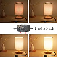 Dimmable Bedside Desk Table Lamp - Small Wooden Round table lamp Kit,Lamp bulb E27 Warm White included,Night Stand reading light for any room,Living,Baby Room,Kids,girls bedroom,so on,by Brightfour from Brightfour