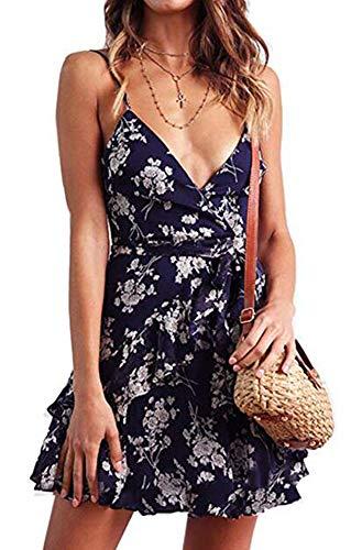Damen Kleid Sommerkleid V-Ausschnitt Ärmellos Blumendruck Strap Mini Swing Strandkleid Mit Gürtel - Straps-mini