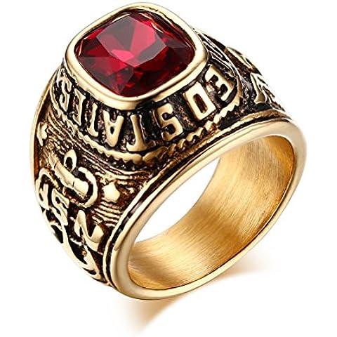 United States ARMY anelli, Eagle Hawk esercito statunitense, in acciaio inox placcato oro, con zirconia cubica, colore: rosso
