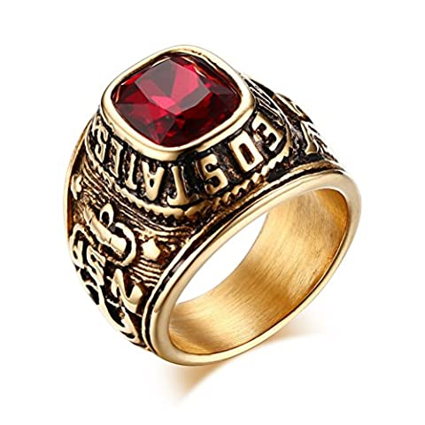 United States Army Rings,Eagle Hawk US ARMY,Stainless Steel Gold Plated Red CZ Stone,Size 11
