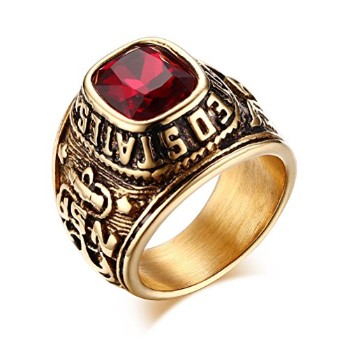 united-states-army-ringseagle-hawk-us-armystainless-steel-gold-plated-red-cz-stonesize-8