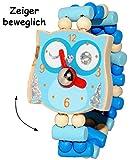 """3 Stück _ Armbanduhren / Kinderuhren - """" lustige Eule - blau """" - aus Holz - bewegliche Zeiger ! - Lernuhr mit Armband - Uhr für Kinder - Mädchen & Jungen - Holzarmbanduhr - Analog / Holzuhr - Schmuck Holzschmuck - Kleinkinder Uhrzeit lernen - Eulen / Tiere"""